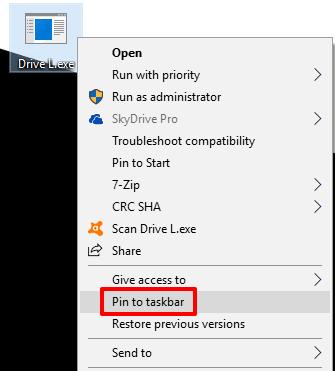 pin exe to taskbar