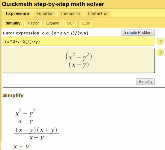 quickmath- step by step algebra solver