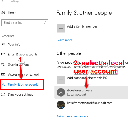 select a local user account