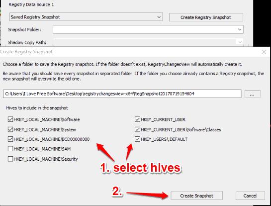select hives and take registry snapshot