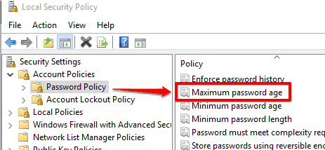 select password policy and maximum password age option
