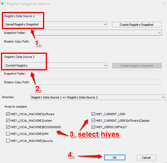 select registry snapshot and current registry view registry changes