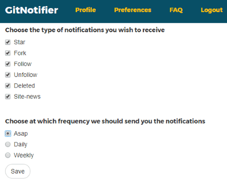 select type of notifications and frequency to receive emails