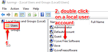 select users folder and double click on a user account