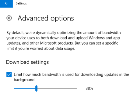 set bandwidth limit by moving the slider
