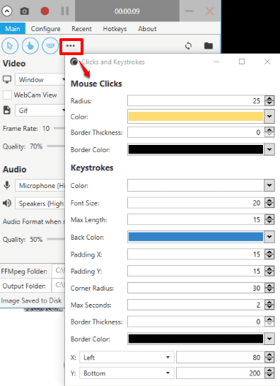 set mouse clicks and keystrokes option