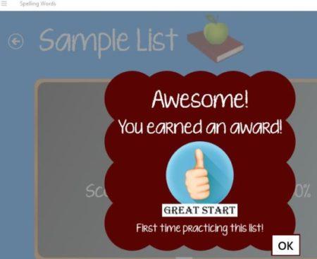 spelling words free reward