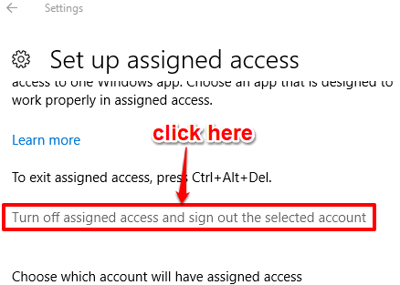 turn off assigned access option