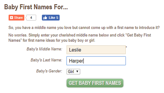 baby name generator with last name