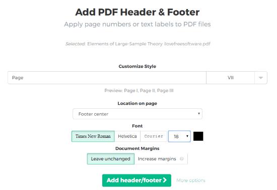 Sejda.com bates numbering PDF