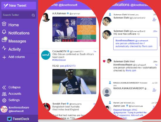 TweetDeck with custom theme and layout