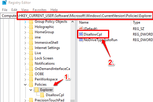 access explorer key and create disallowCpl dword value