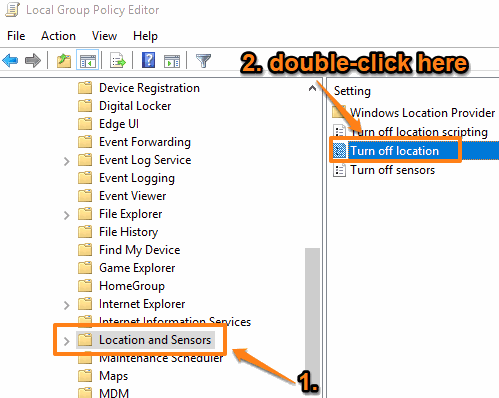 access location and sensors and then double cilck turn off location