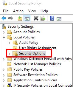 access security options folder