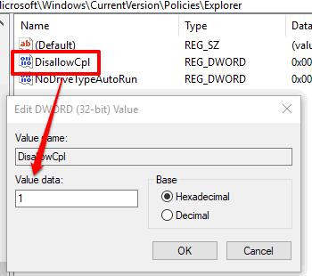 add 1 in value data of DisallowCpl