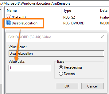 add 1 in value data of disablelocation dword