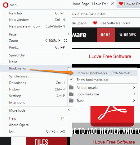 click show all bookmarks option