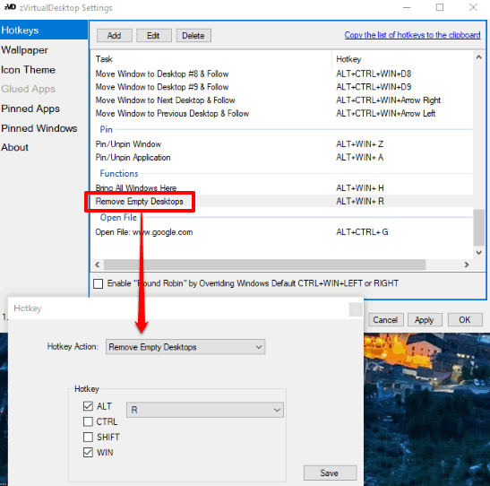 Close All Empty Virtual Desktops At Once Using A Hotkey In