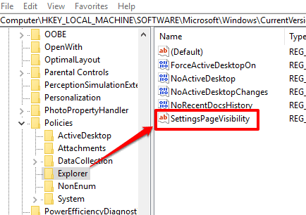 create settingspagevisibility string value