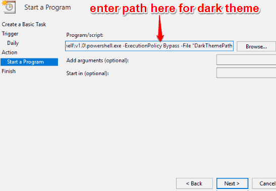 enter program script path