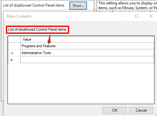 enter the names of control panel items