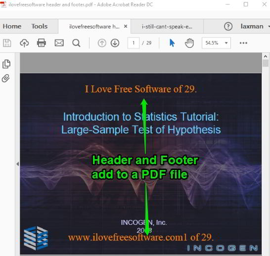 header and footer added to pages of a pdf file