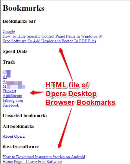 html file of opera desktop browser bookmarks
