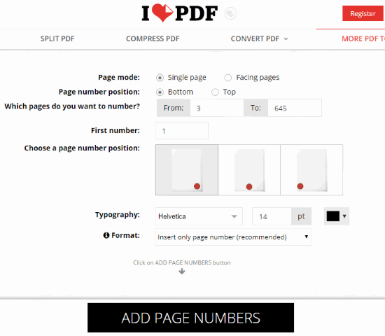 iLovePDF- add page numbers feature