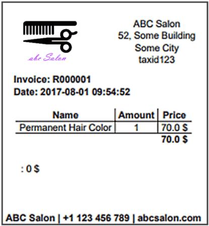 Invoice - Salon Scheduling Software