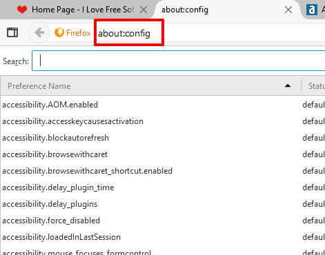 open firefox configuration page