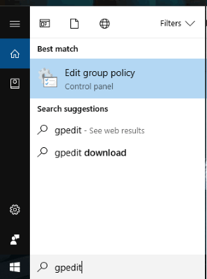 open group policy using search box