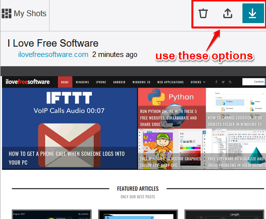 save screenshot, delete it or upload