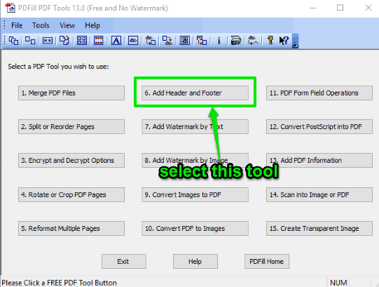 select Add Header and Footer tool