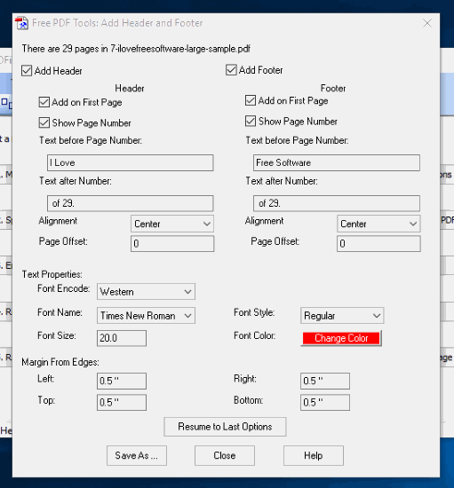 set header and footer options