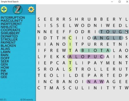 simple word search searching words