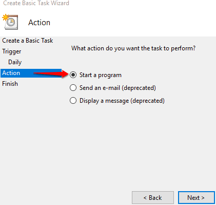start a program option is selected in action section