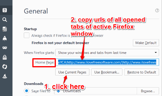 use current pages button and copy urls of firefox tabs