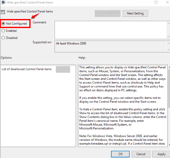 use not configured option