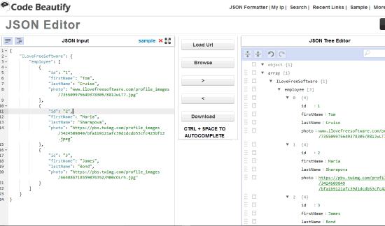 Code Beautify JSON Editor