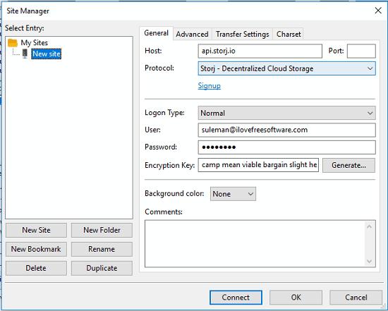 FileZilla Storj configuration