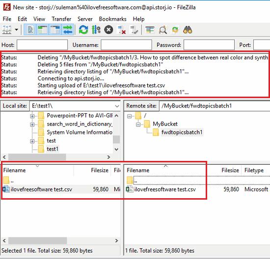 FileZilla file transfer in action