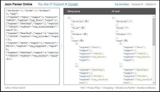 JSON parser online