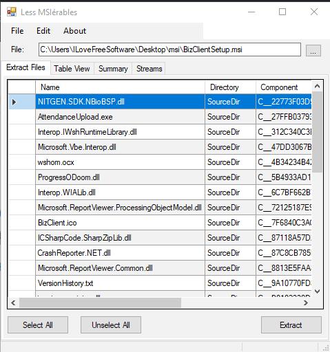 Lessmsi- interface
