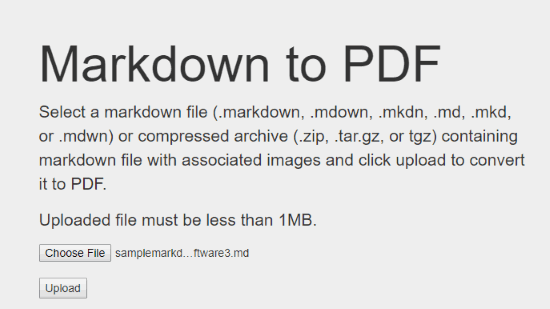 Markdown2pdf.com website interface
