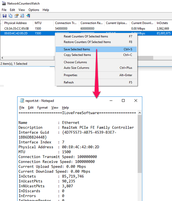 NetworkCountersWatch export counetr stats