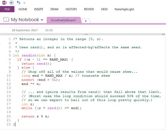 NoteHighlight formats code by highlighting it
