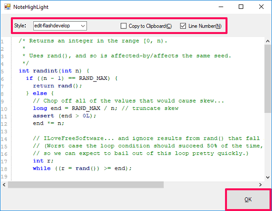 NoteHighlight paste code snippet to format