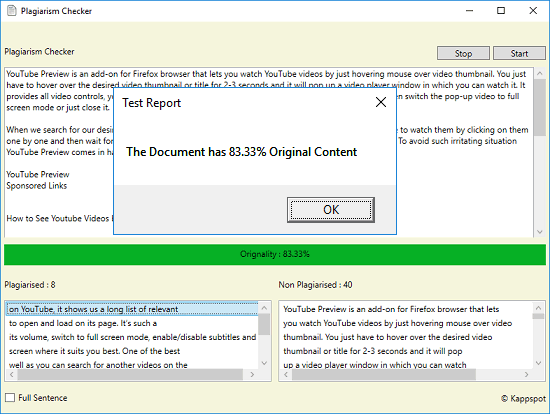 Plagiarism Checker Software for Windows that uses Bing API