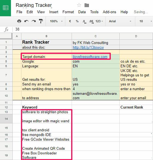 Ranking tracker google sheet set up domain and keywords