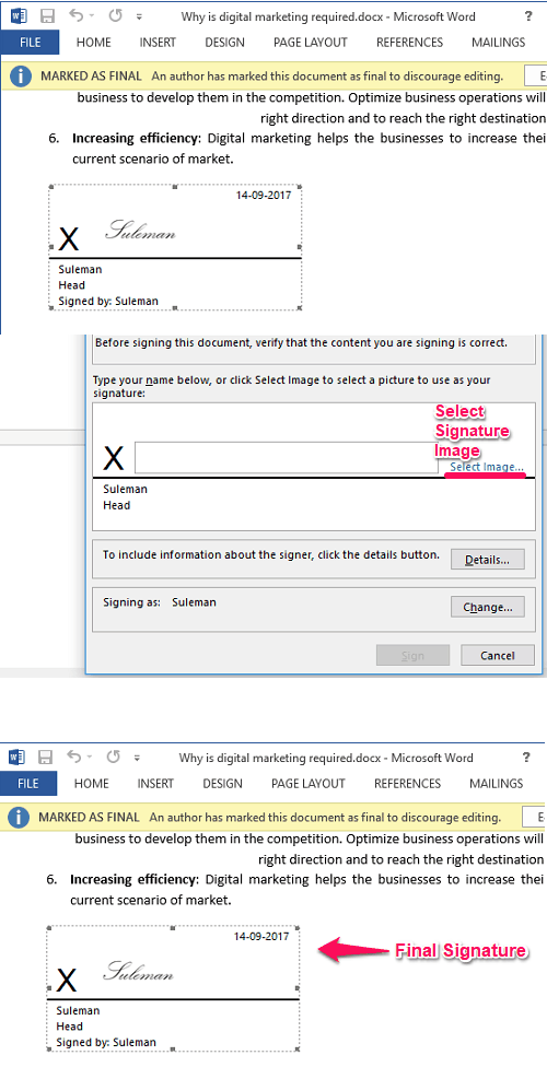 Signature line addede in ms word